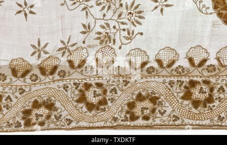 'Woman's Wrapped Garment (Sari) (image 9 of 21); English:  India, Uttar Pradesh, Lucknow, early 19th century Costumes; principal attire (entire body) Cotton and silk embroidery and pulled-thread work on cotton plain weave 178 3/4 x 41 in. (452.12 x 104.14 cm) From the Nasli and Alice Heeramaneck Collection, Museum Associates Purchase (M.83.105.27) Costume and Textiles; Early 19th century; ' - Stock Photo