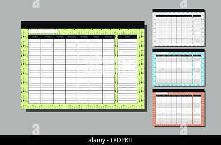 Planner Template for whole year. Set Wall Calendar Endless. Seven weekly columns. bright background with arrows. Bright backdrop. Vector Design Print - Stock Photo