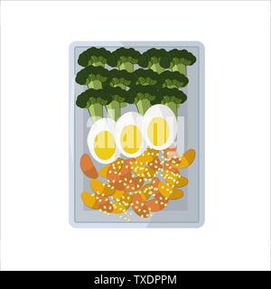 Isolated vector food images. Vegetable slices on a white rectangular plate. Green broccoli, egg halves, fried potatoes, sesame seeds. For icons in the - Stock Photo