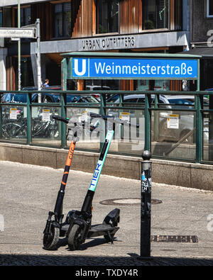 Germany, Berlin, Mitte. 24th June 2019. German parliament legalises electric scooters. E-scooters have recently been made legal for street use in Germany and are making an appearance in Berlin. Use is restricted to bike lanes & streets. The maximun speed allowed is 20kpm and under- fourteens are not permitted to use the scooters. - Stock Photo