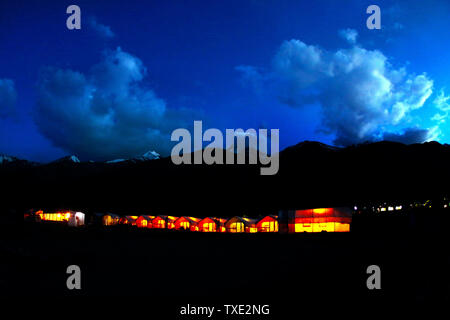Camp at night, Pangong Tso lake, Jammu and Kashmir, India, Asia - Stock Photo