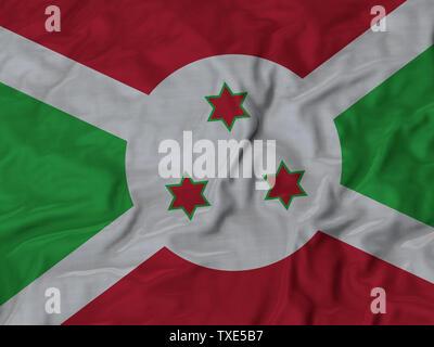 Ruffled Flag of Burundi Blowing in Wind - Stock Photo