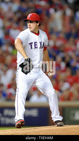 Texas Rangers starting pitcher Derek Holland throws against the Detroit Tigers in game six of the ALCS at Rangers Ballpark in Arlington on October 15, 2011 in Arlington, Texas.   The Rangers lead the best of seven series 3-2.    UPI/Ian Halperin - Stock Photo