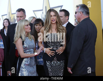 Actresses Sofia Vergara, right, and Reese Witherspoon arrive at the 50th annual Academy of Country Music Awards held at AT&T Stadium in Arlington, Texas on April 19, 2015. Photo by John Angelillo/UPI - Stock Photo