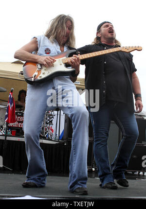 Johnny Van Zant (R) and Mark Matejka of Lynyrd Skynyrd perform in concert prior to the start of the 52 Annual AdvoCare 500 at Atlanta Motor Speedway Speedway in Hampton, Georgia on September 4, 2011.  UPI Photo/Martin Fried - Stock Photo