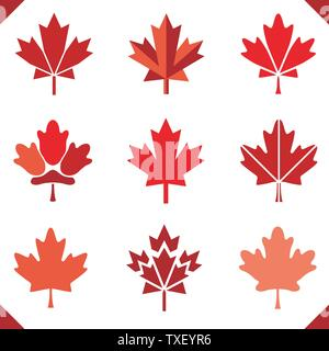 Maple leaf icon in red for canada flag set of leaves grouped easy to color - Stock Photo