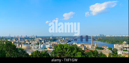 Panorama of Kiev. Podil district, Dnipro river, new bridge - Stock Photo