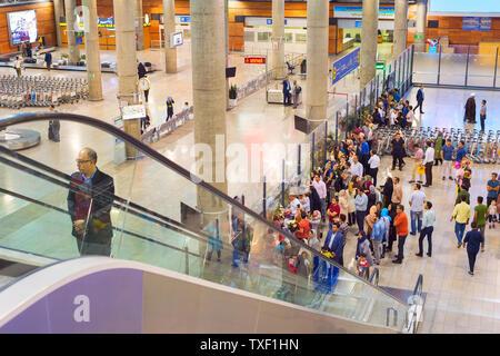 TEHRAN, IRAN - MAY 22, 2017: People waiting for arriving passengers at Tehran Imam Khomeini International Airport - Stock Photo
