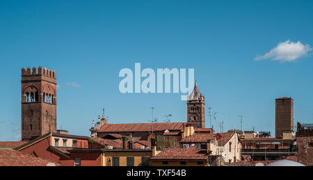 Roofs and towers in downtown Bologna in a beautiful sunny morning. Bologna, Emilia Romagna, Italy. - Stock Photo