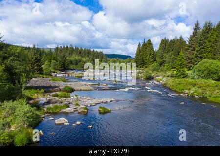 Aerial view of The Otter Pool, Black Water of Dee, river Dee, Galloway Forest, Dumfries & Galloway, Scotland - Stock Photo