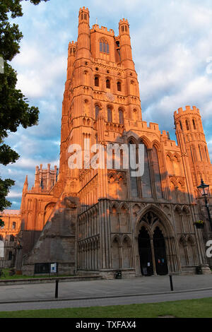 View of Ely Cathedral`s west tower turning a lovely red colour in the setting sun. - Stock Photo
