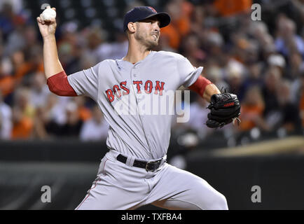 Boston Red Sox starting pitcher Rick Porcello delivers to the Baltimore Orioles during the first inning at Camden Yards in Baltimore, September 19, 2016. Photo by David Tulis/UPI - Stock Photo