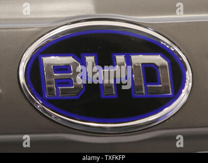 The BYD Motors, Inc. Logo is displayed on their E6 electric car at the North American International Auto Show at the COBO Center on January 12, 2010 in Detroit, Michigan.    UPI/Brian Kersey - Stock Photo