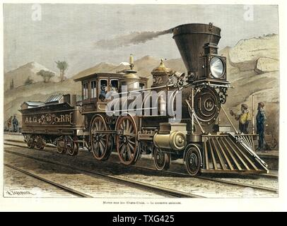 American steam locomotive 'The General' (4-4-0 American type), 1855. Engraving by A. Johandier. - Stock Photo
