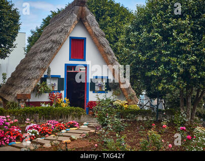 Historic A-framed house, Santana, Madeira, Portugal, European Union - Stock Photo