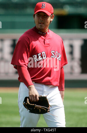 Boston Red Sox pitcher Daisuke Matsuzaka heads into the clubhouse after warming up before the start of the game against the Texas Rangers at Fenway Park in Boston, Massachusetts on April 20, 2008.  (UPI Photo/Matthew Healey) - Stock Photo