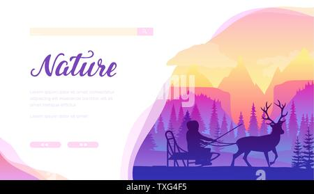 Reindeer sledding services vector landing page template. North Pole, Lapland winter minimalistic landscape. Rider in sleigh with deer flat silhouettes. Nature web banner with text space - Stock Photo