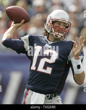 New England Patriots QB Tom Brady throws a pass in the first quarter against the Buffalo Bills at Gillette Stadium in Foxboro, Massachusetts on September 26, 2010.      UPI/Matthew Healey - Stock Photo