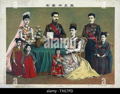 After Torajiro Kasai The Meiji Emperor of Japan, standing centre, with the Japanese imperial family Chromolithograph - Stock Photo