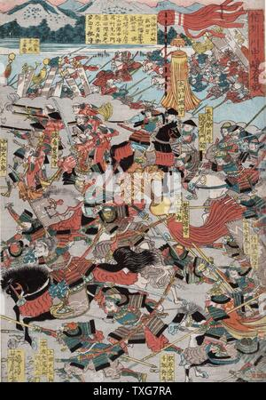 Utagawa Yoshitoro Japanese school The Great Battle of Kawanakjima in Shinsu: probably the 1561 fourth  battle between the warlords Takeda Shingen and Uesugi Keushin on the plains of the Chikmu River Woodblock - Stock Photo