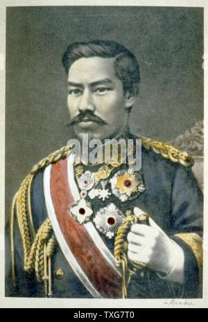 Mutsuhito, Emperor Meiji, 122nd Emperor of Japan from 1867. During his reign Japan  underwent great political, social and industrial changes and became a world power. - Stock Photo
