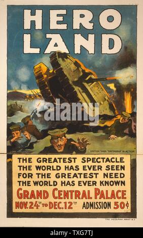 Poster for 'Hero Land', a spectacular entertainment based on the battlefields of World War I, Grand Central Palace, New York (24 November-12 December 1917) Chromolithograph - Stock Photo