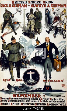 British Empire Union. Once a German, always a German. Remember! Every German employed means a British worker idle. Every German article sold means a British article unsold. Poster showing caricatures of Germans, including wartime scenes of past violence, cruelty, and drunkenness, and then a charming German businessman of the day. Also a vignette of martyr Edith Cavell's grave and the caption, 1914 to 1918. Never again! - Stock Photo
