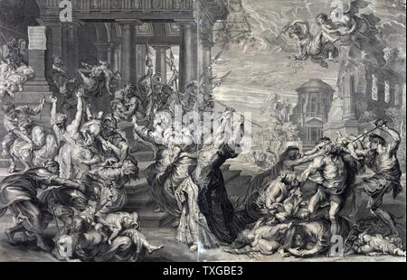 Print showing the massacre of the innocents ordered by Herod, from a 17th century perspective. - Stock Photo