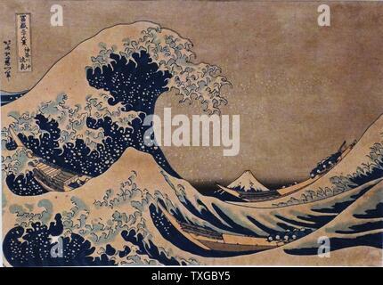 The Great Wave of Kanagawa by Katsushika Hokusai (1760-1849) Japanese artist, ukiyo-e painter and printmaker of the Edo period. Dated 1832 - Stock Photo