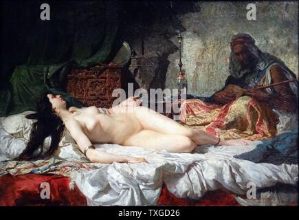 Painting titled 'The Odalisque' by Marià Fortuny (1838-1874) Catalan painter. Dated 1861 - Stock Photo