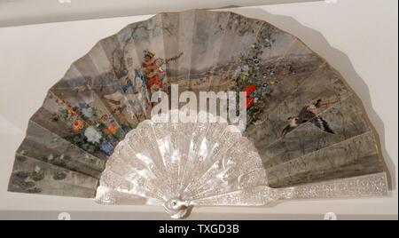 Fan with scene of gallantry by Marià Fortuny (1838-1874) Catalan painter. Dated 1870 - Stock Photo