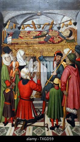 Table altar of Saint Vincent depicting the Posthumous Miracles of St Vincent. By Jaume Huguet (1412-1492) Catalan painter. Dated 15th Century, - Stock Photo