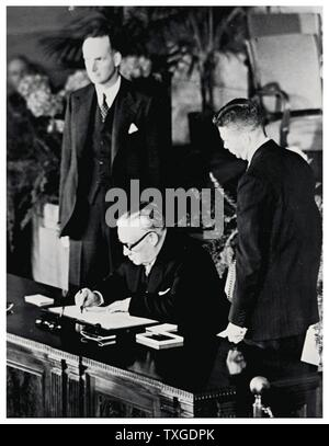 Photograph from the signing of the North Atlantic Treaty. The North Atlantic Treaty, signed in Washington, D.C. on 4 April 1949, is the treaty establishing the North Atlantic Treaty Organization (NATO). - Stock Photo