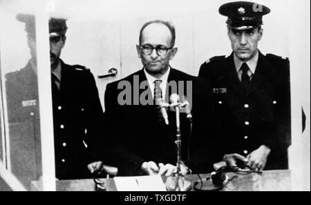 Photograph of Adolf Eichmann on trial. Otto Adolf Eichmann (1906-1962) German Nazi SS-Obersturmbannführer and one of the major organisers of the Holocaust. Dated 1961 - Stock Photo