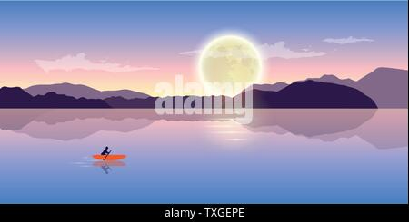 lonely canoeing adventure with orange boat at night with full moon romantic landscape vector illustration EPS10 - Stock Photo