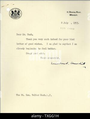 Letter of thanks from British Prime Minister Sir Winston Churchill to the New Zealand Prime Minister Sir Walter Nash. - Stock Photo