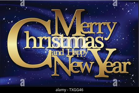Christmas greeting card, vector. Merry Christmas and Happy New Year - Stock Photo