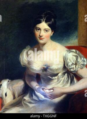 Portrait of Countess of Blessington, Marguerite Gardiner (1789-1849) byThomas Lawrence (1769-1830) English portrait painter and the second president of the Royal Academy. Dated 1800 - Stock Photo