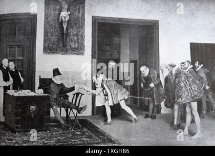 King Philip II (Felipe II) of Spain, receives ambassadors from Flanders, prior to his invasion of the Netherlands (Eighty Years' War or Dutch War of Independence 1568-1648). - Stock Photo