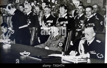 Photographic print of Adolf Hitler and other members of the Reich Cabinet, during the Second World War. Dated 20th Century. - Stock Photo