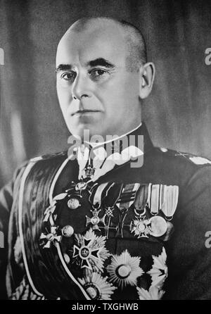 Photographic portrait of Edward Rydz-Smigly (1886-1941) a Polish politician, statesman, Marshal of Poland, Commander-in-Chief of Poland's armed forces. Dated 20th Century - Stock Photo
