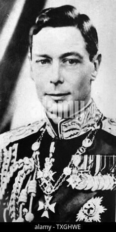 Photographic portrait of King George VI (1895-1952) King of the United Kingdom and the Dominions of the British Commonwealth. Dated 20th Century - Stock Photo