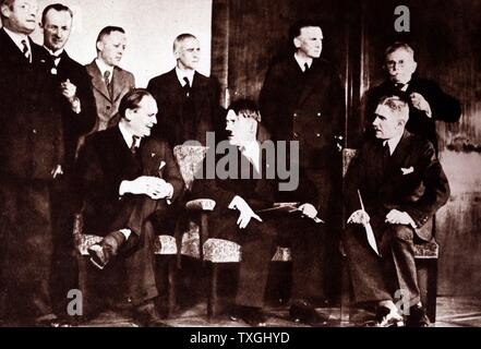 'Photographic print of Adolf Hitler and other members of the Reich Cabinet: 1st row sitting, left to right: Hermann Göring (1893-1946), Adolf Hitler (1889-1945), Franz von Papen (1879-1969) - Stock Photo