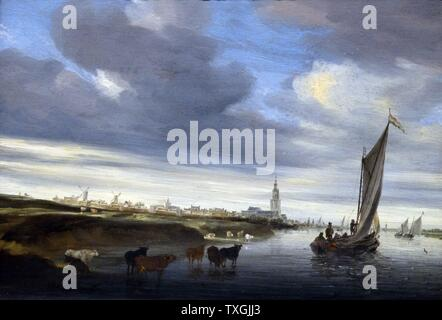 Painting titled 'A View of Rhenen' by Salomon van Ruysdael (1602-1670)  a Dutch Golden Age landscape painter. Dated 17th Century - Stock Photo