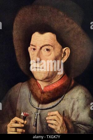 Painting titled 'The Man with the Pink' by Jan van Eyck (1390-1441) an Early Netherlandish painter. Dated 15th Century - Stock Photo
