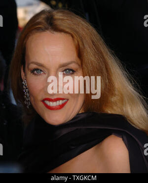 Jerry Hall, the ex-Mrs. Mick Jagger, poses for photographers on the red carpet before the gala screening of 'Bad Santa' at the Palais des Festivals May 19, 2004 during the Cannes Film Festival in Cannes, France. (UPI Photo/Christine Chew) - Stock Photo