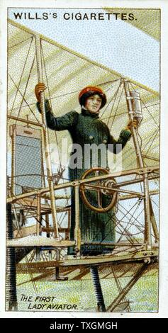 Delaroche, Baroness Raymonde,  first woman to hold pilot's licence. On 3 Nov. 1909 flew Voisin biplane 1,000 yards From set of cards on aviation published 1910 Chromolithograph. Colour - Stock Photo