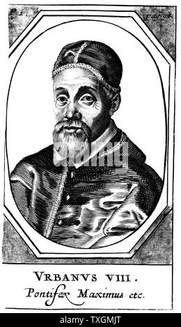Urban VIII (Maffeo Barberini, 1568-1644)  Pope from 1623. Galileo's friend and dedicatee of his 'Il Saggiatore' who, as Pope, condemned him for his heretical theories.  Copperplate engraving - Stock Photo