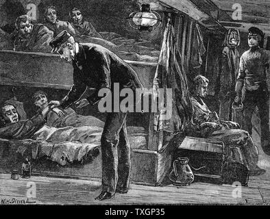 Taking the pulse of a sick Irish emigrant on board ship bound for North America during the potato famine of the 1840s. Wood engraving c.1890 - Stock Photo