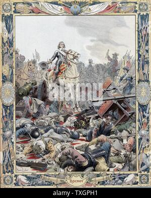 Thirty Years War: Battle of Rocroi (Rocroy), 19 May 1643, Spanish defeated by French under Duc d'Enghien, Prince de Conde (1621-1686) known as the Great Conde.    Lithograph - Stock Photo